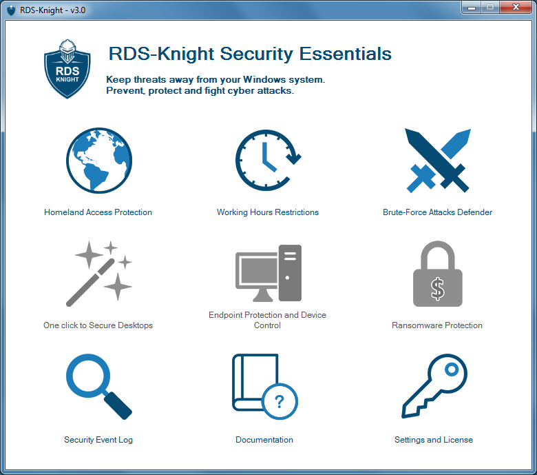 RDS-Knight is the right shield for your windows servers. In minutes you will prevent foreigners from opening a session, avoid brute force attacks on your server, restrict access by device and by time, and provide security for your users environment